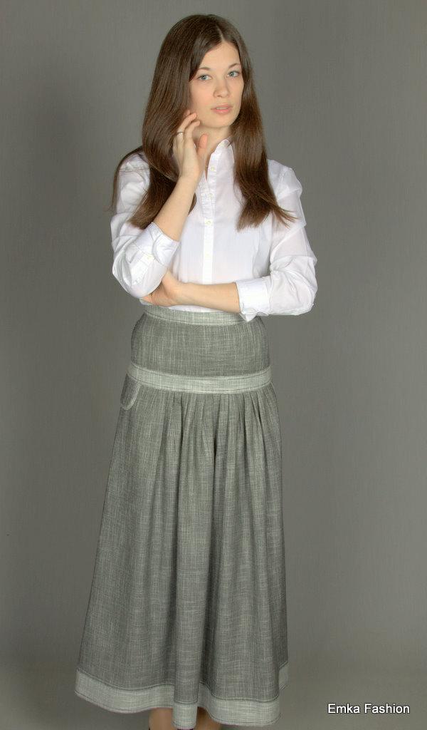 Как сшить юбку из льна с кружевом 67