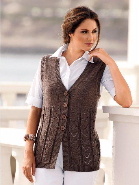 Вязанье на спицах жилеток женских