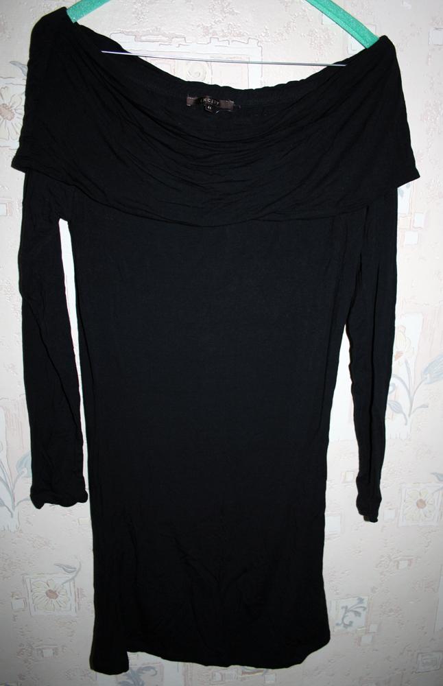 черное, облегающее трикотажное платье INCITY рр44.  Длина по спинке 77см.