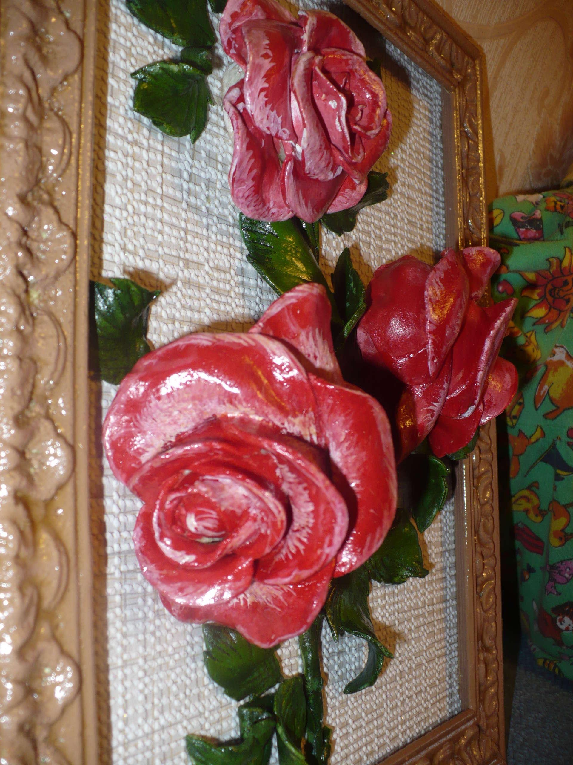 Картины цветы из соленого теста
