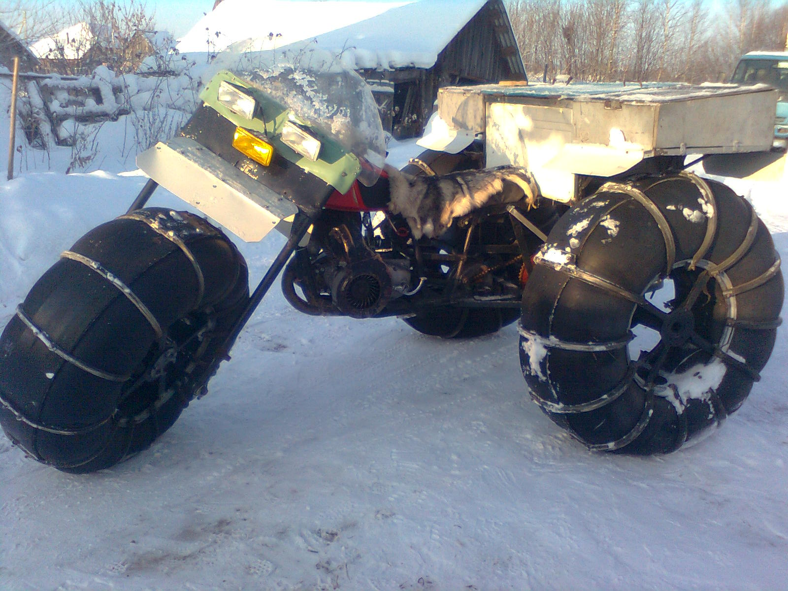 Снегоход своими руками на шинах 26