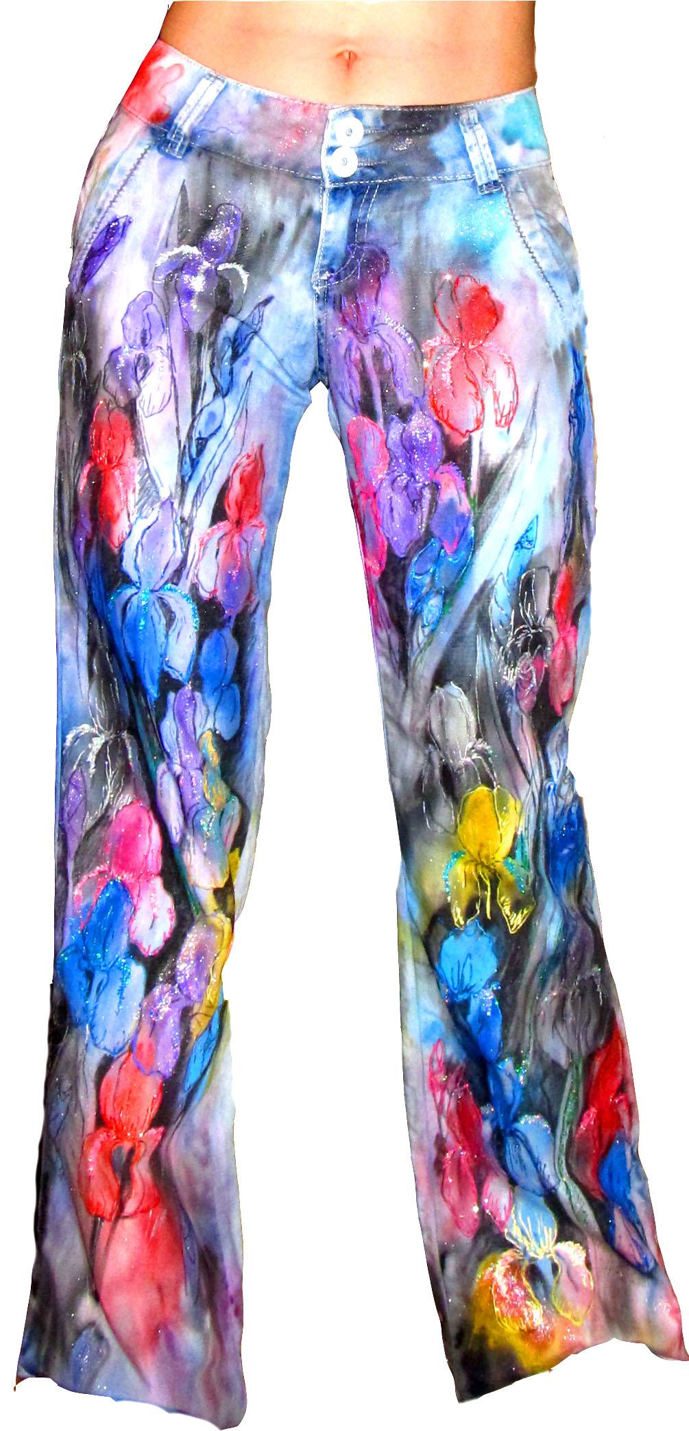 Роспись джинсов акриловыми красками фото