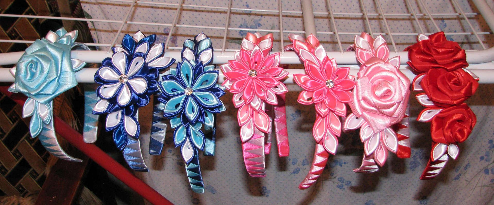 Цветы из лент своими руками для ободка