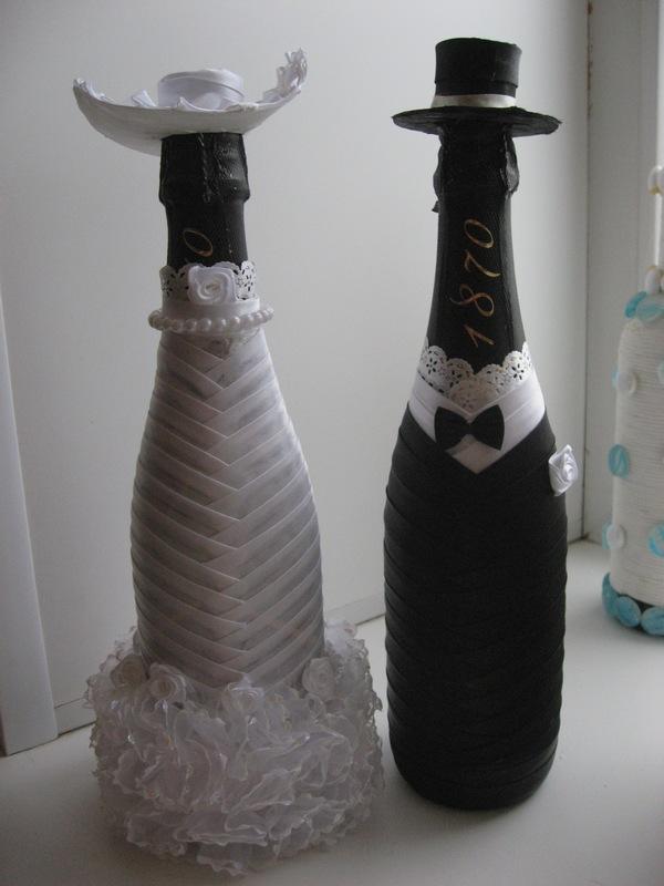 Наряды на свадебные бутылки своими руками