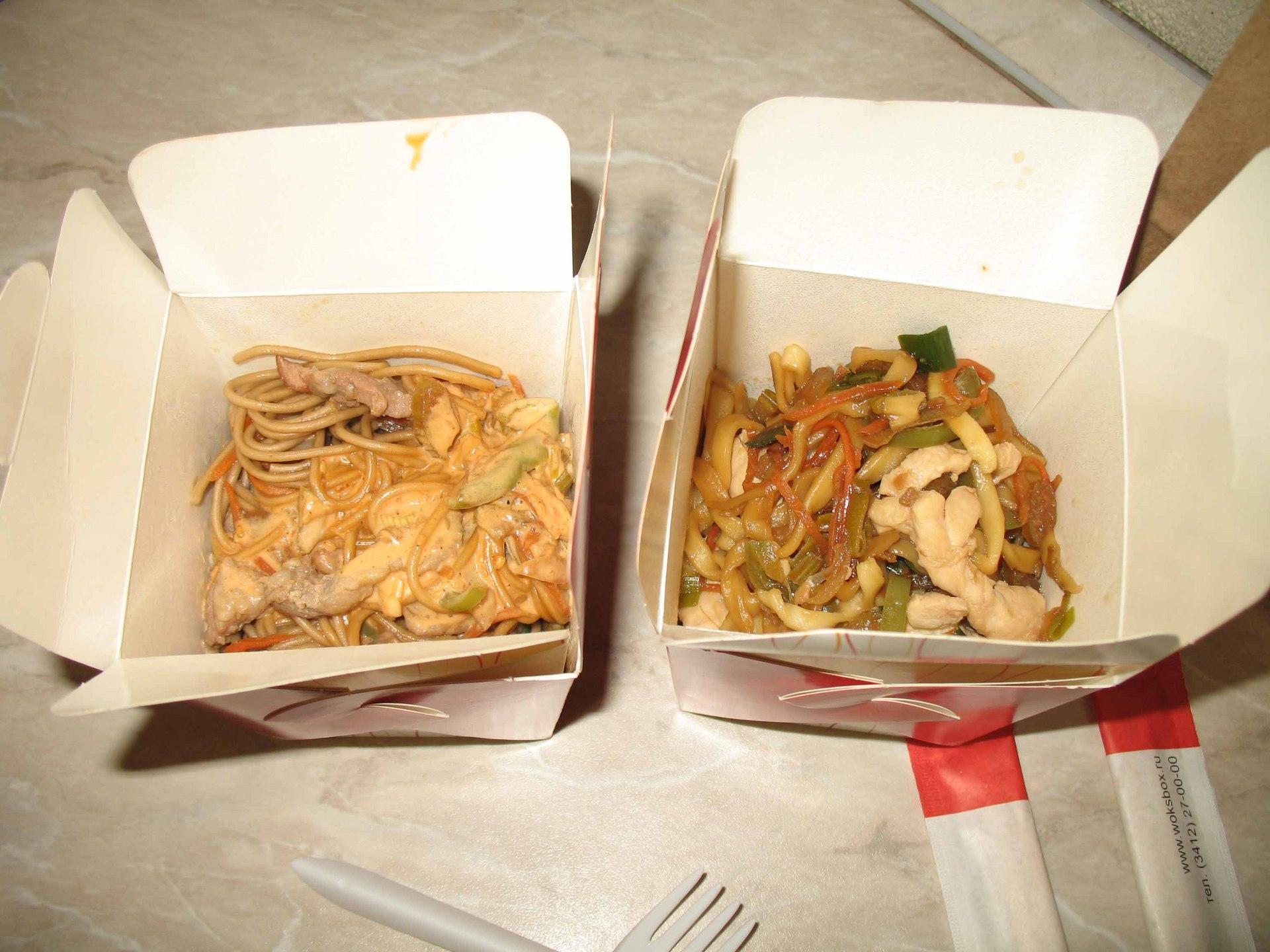 рецепт китайской лапши с креветками в коробочке