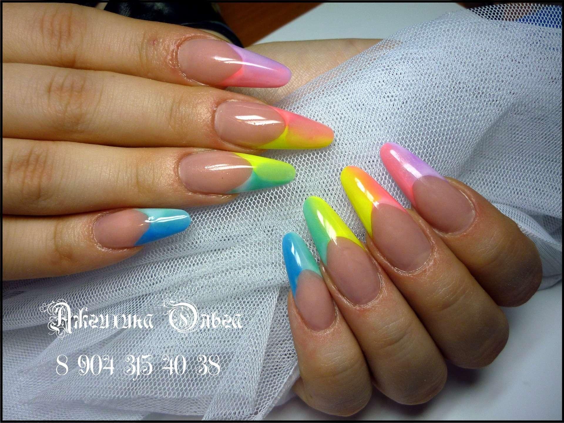 Дизайн ногтей радужный френч фото