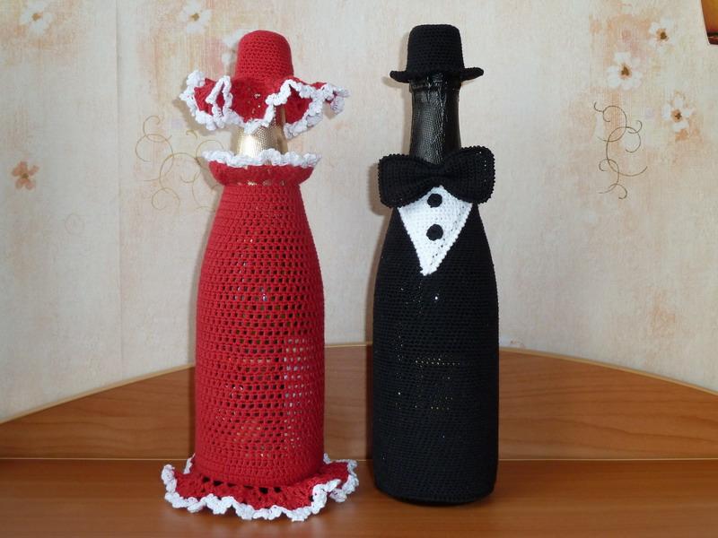 Вязание крючком бутылок шампанского
