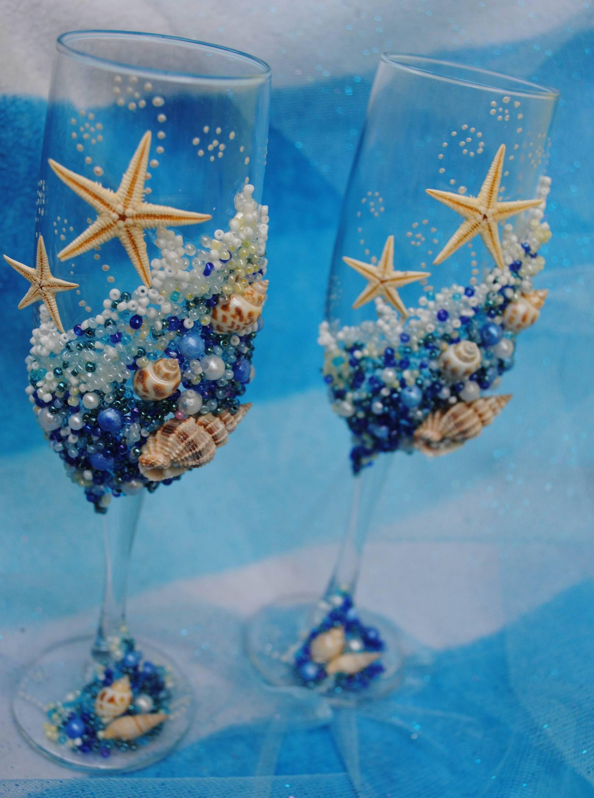 Бокалы с шампанским на свадьбу своими руками