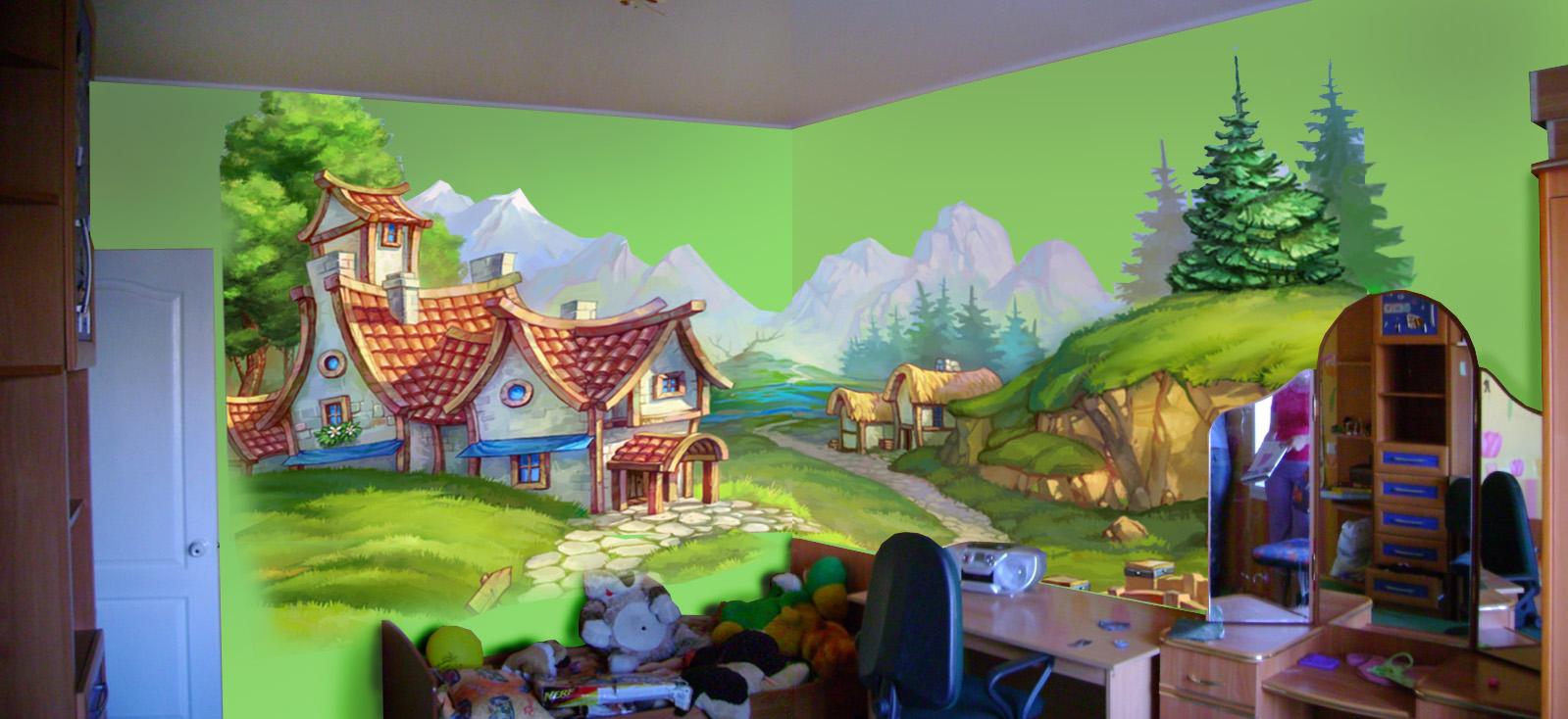 Роспись стены для детской комнаты