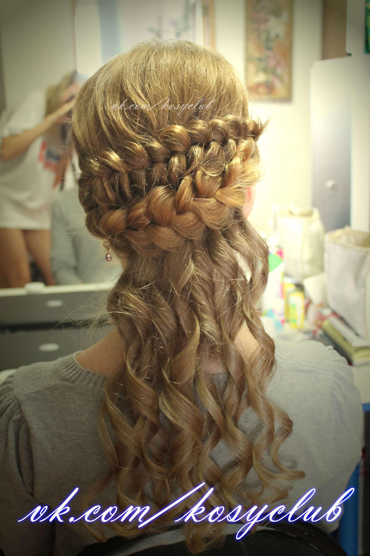 Прическа на длинные волосы с косами и кудрями фото