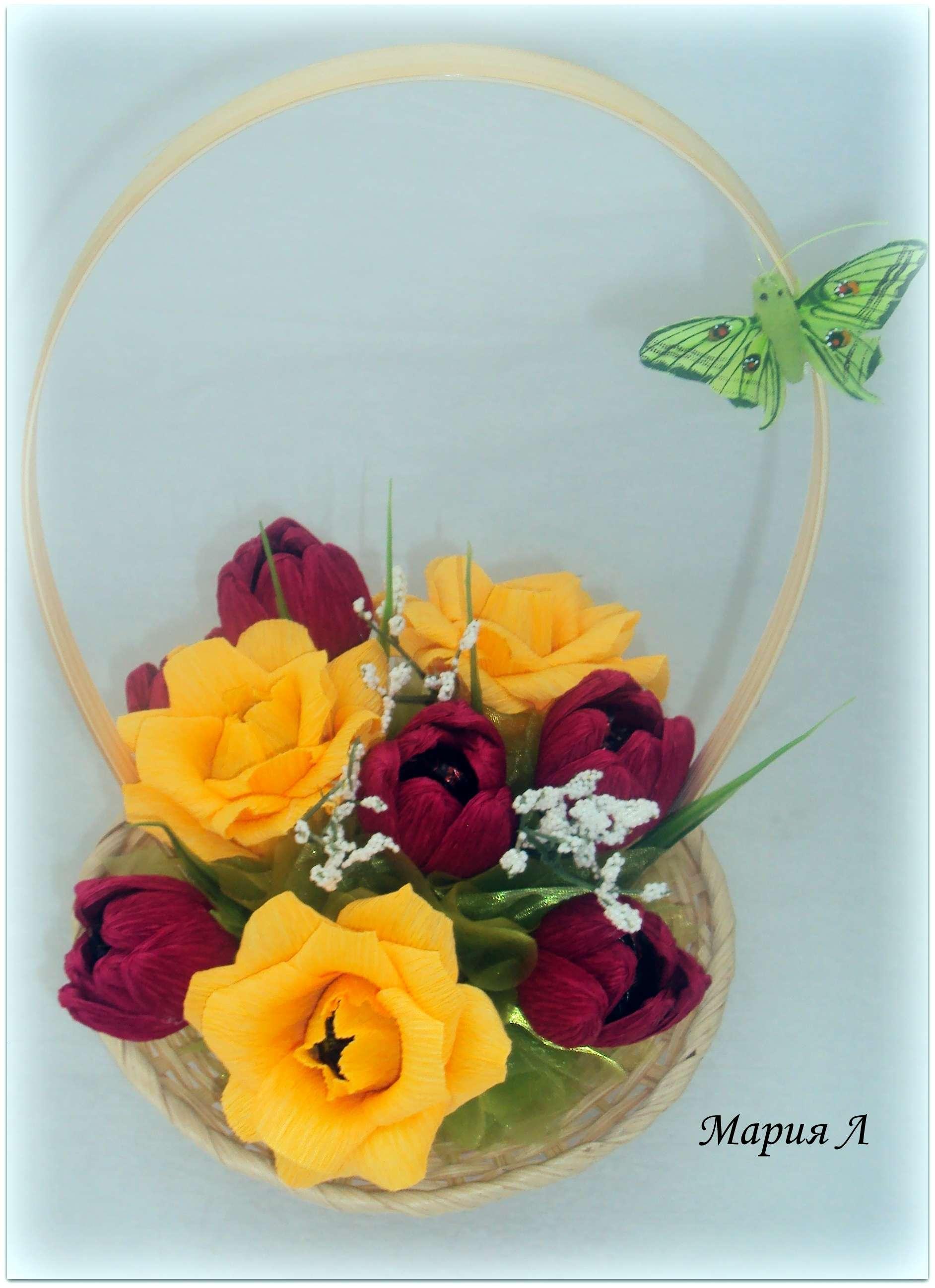 Цветы из конфет в корзине своими руками розы 189