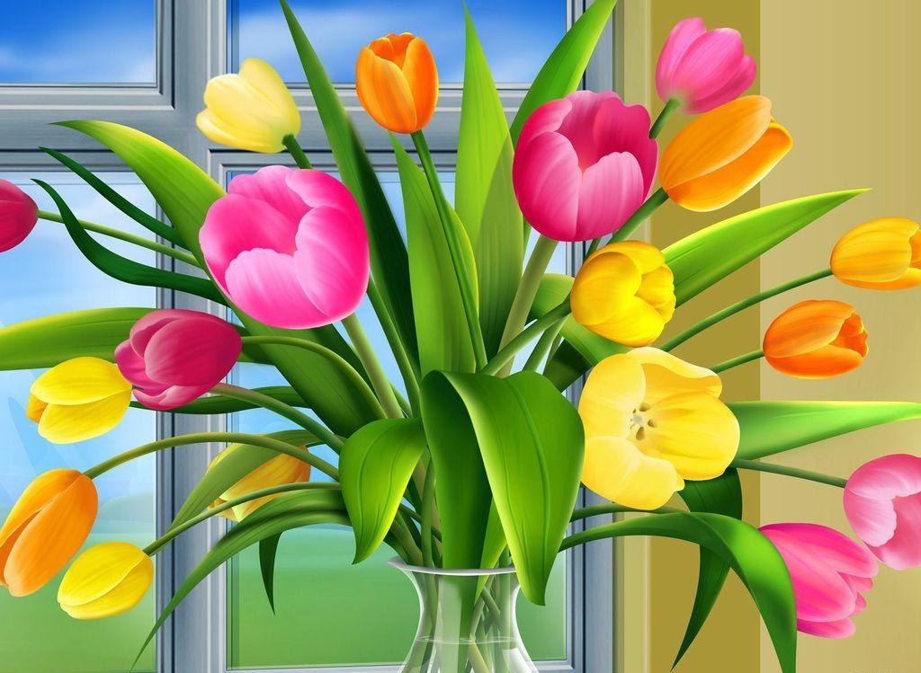 Картинки цветов в вазе нарисованные 3