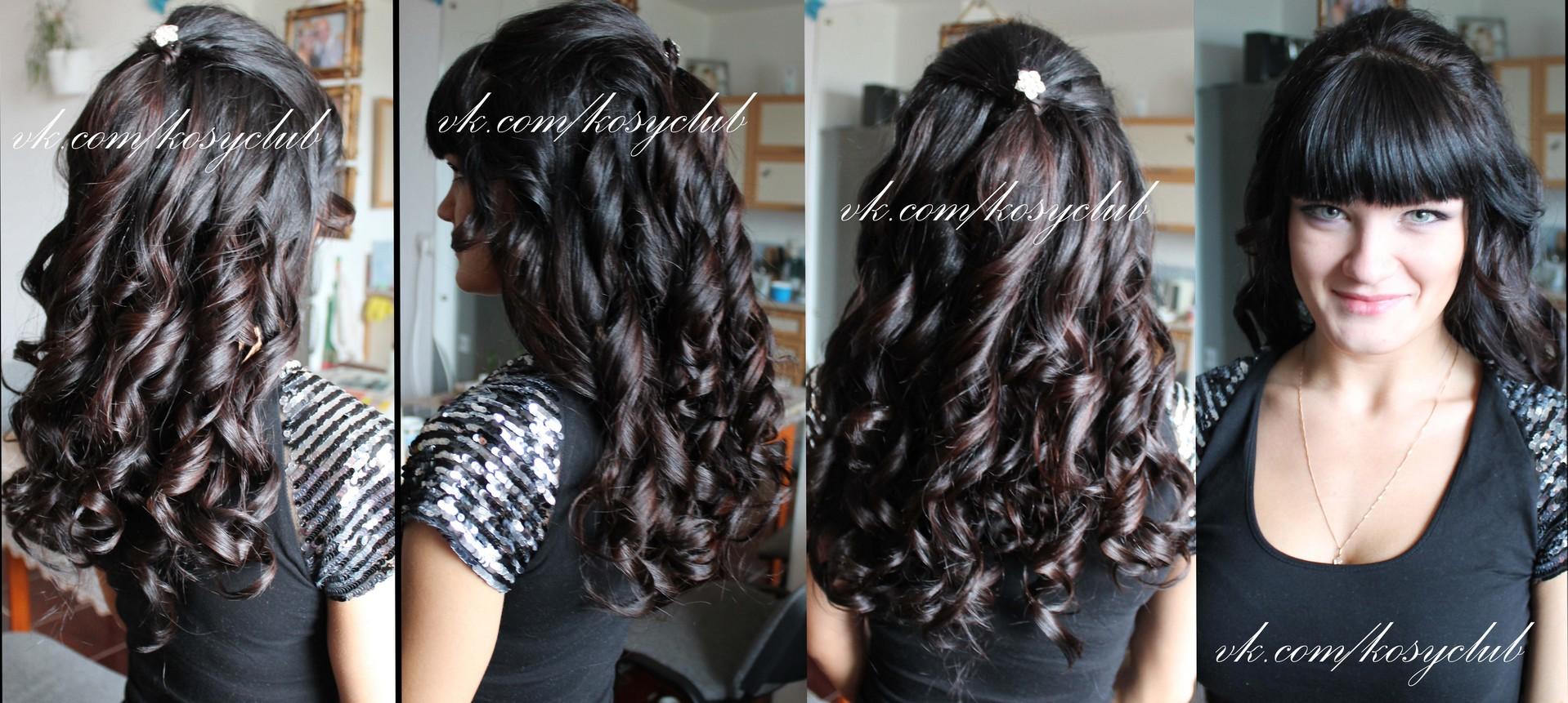 Кудряшки на длинные волосы с челкой прическа