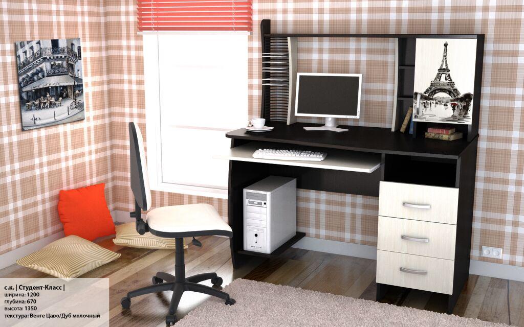 Компьютерные столы. студент-класс (рисунок). мебельная фабри.