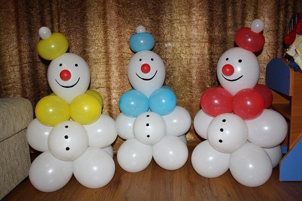 Снеговик из воздушных шаров своими руками пошаговое фото