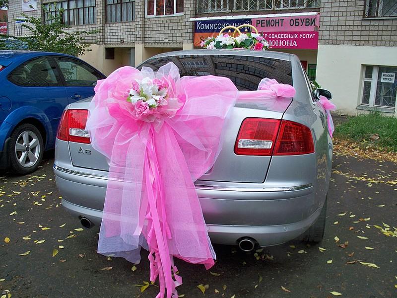 Свадебные украшения на машину из ткани своими руками