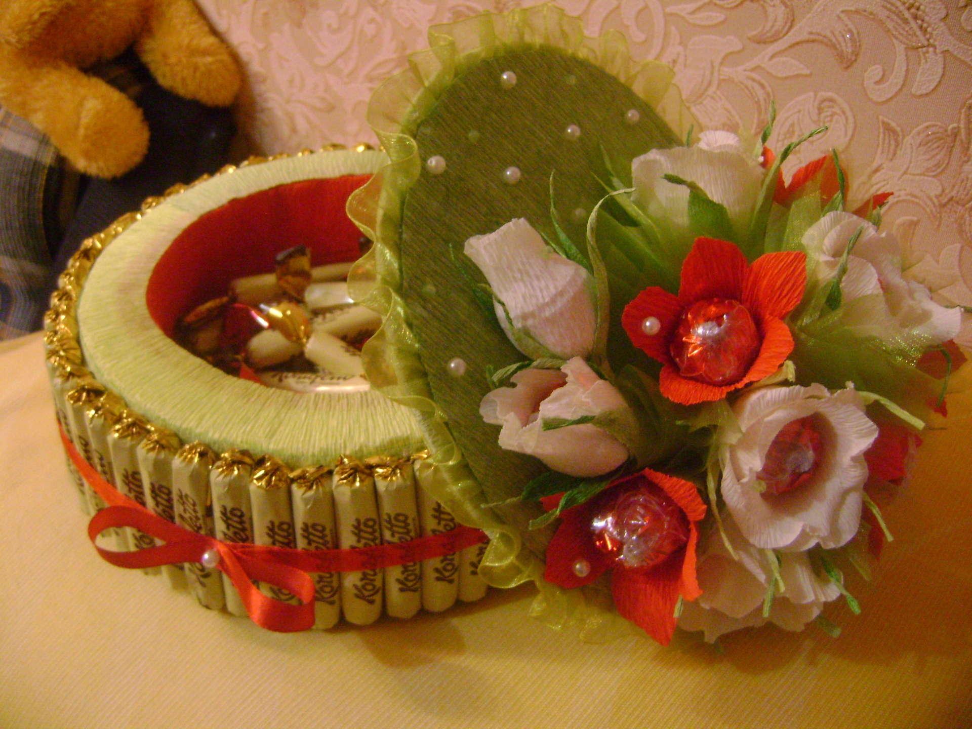Красиво оформить подарок из конфет 28
