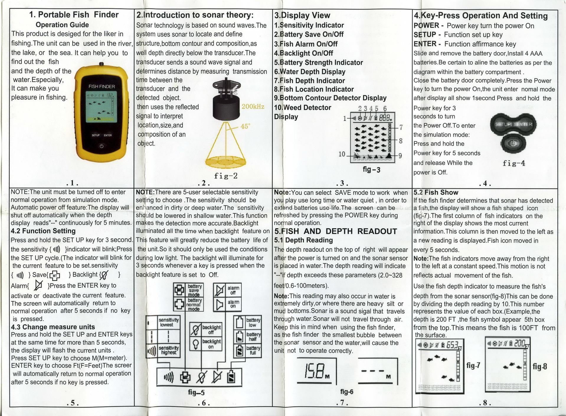 portable fish finder инструкция на русском языке