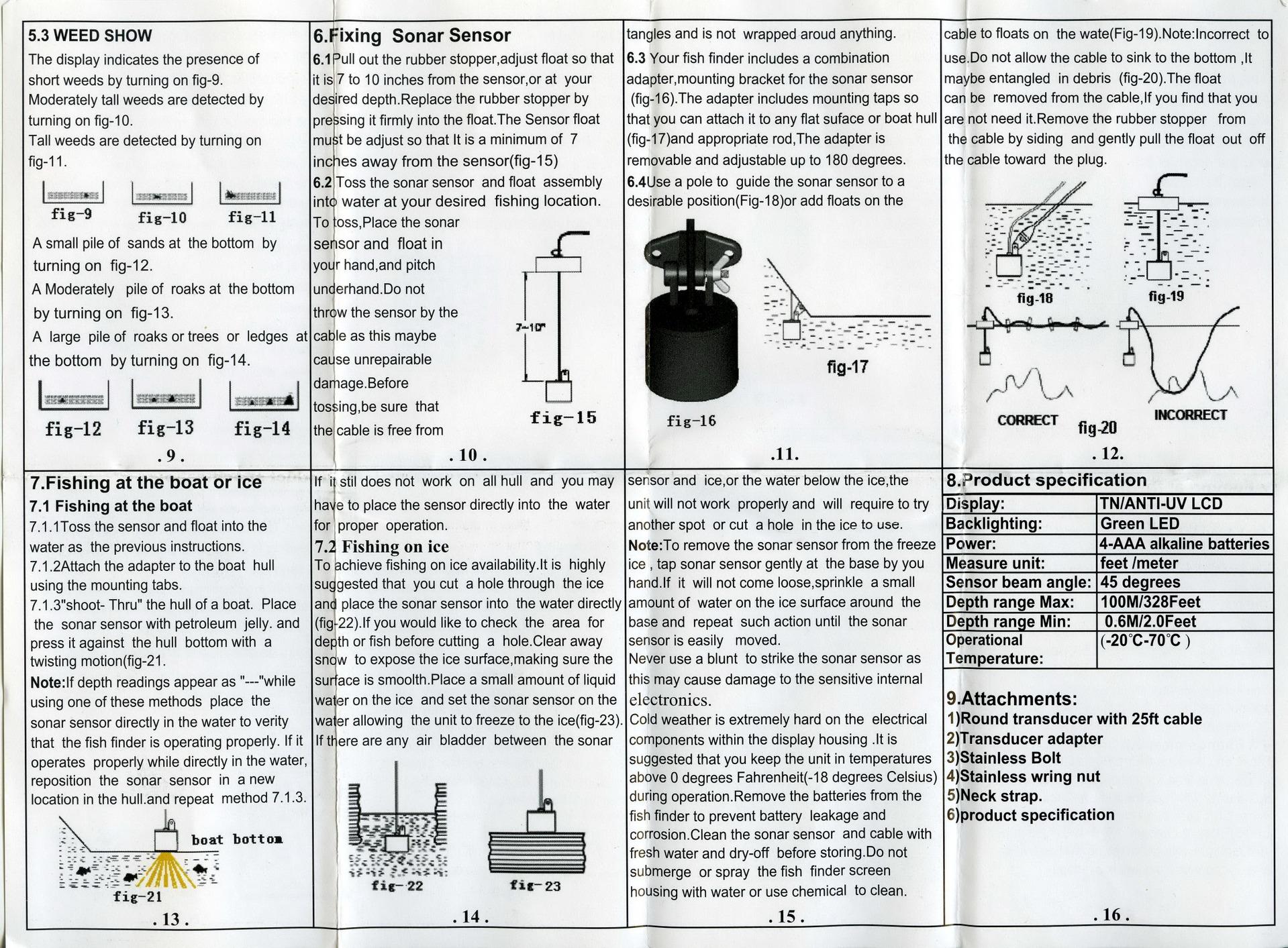 инструкция по эксплуатации fish finder xf 02