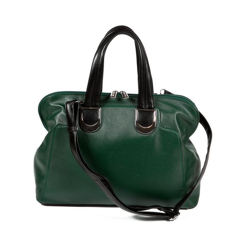 Женская сумка ELEGANZZA выполнена из натуральной глянцевой кожи серо-зеленого цвета с тиснением под рептилию. .