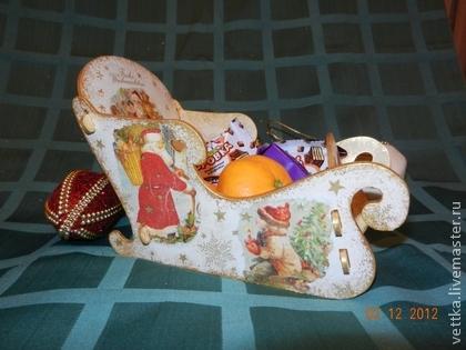 сани Санта Клауса санки Деда Мороза - оригинальный сувенир,подарок на новый год