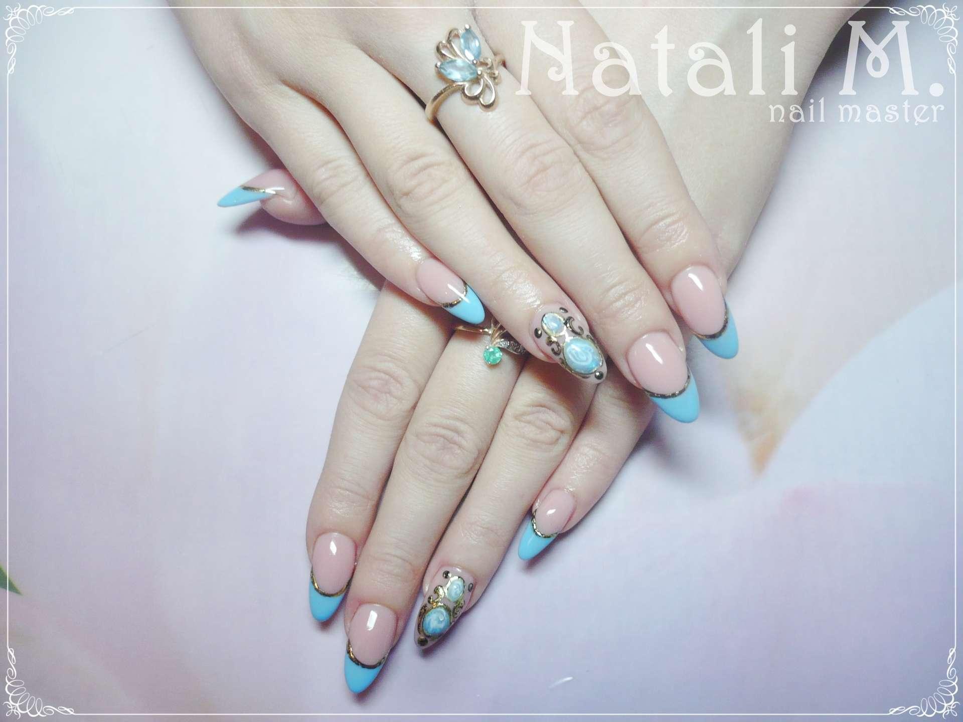 Фото ногтей гель-лак с жидкими камнями