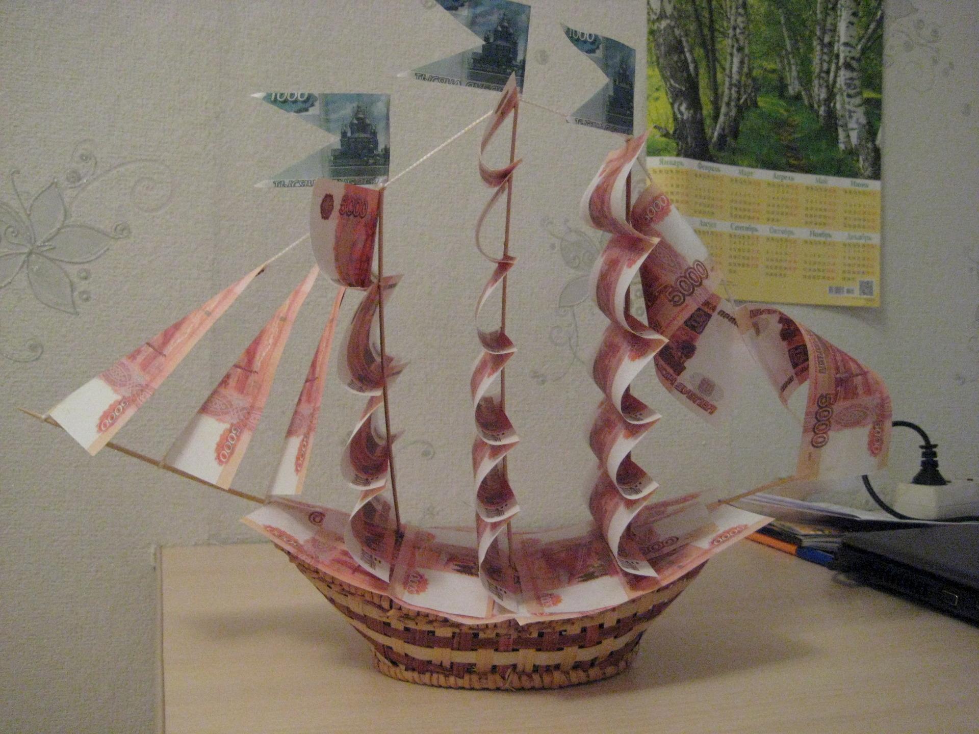 Денежный корабль своими руками мастер класс фото