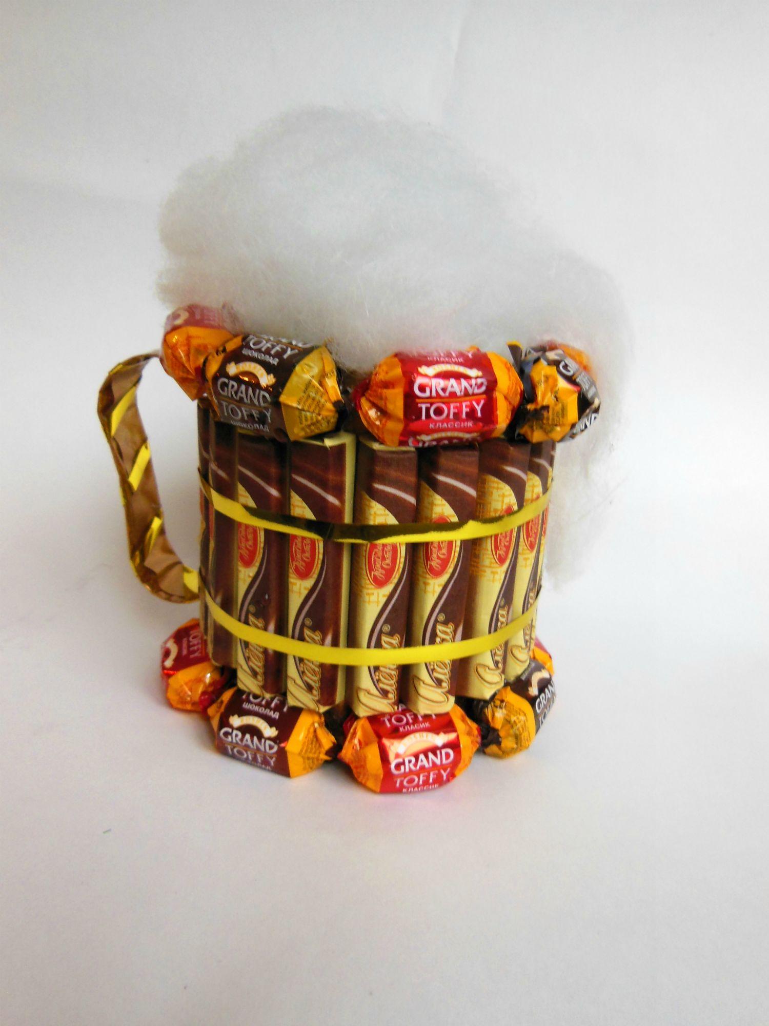 Букет из конфет в кружке Новогодняя композиция. Мастер 73
