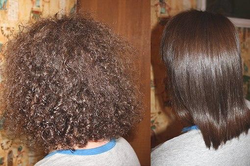 Выпрямление кудрявых волос фото до и после