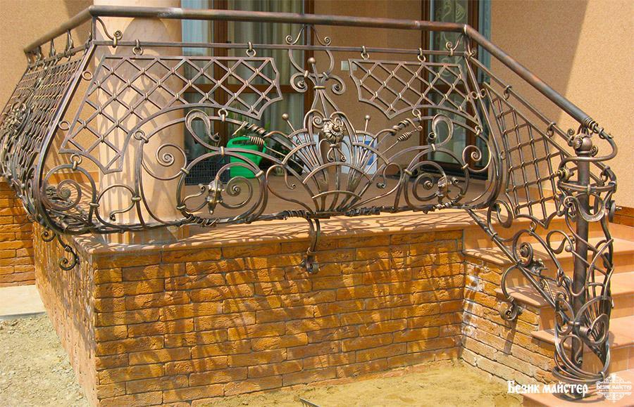 Кованые перила на крыльцо кк11: для частного дома, фото.