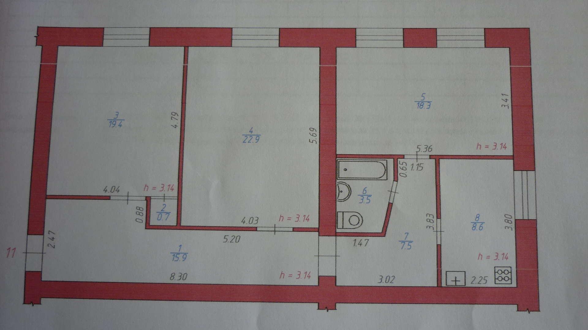 Перепланировка однокомнатной квартиры П-111М: заказать