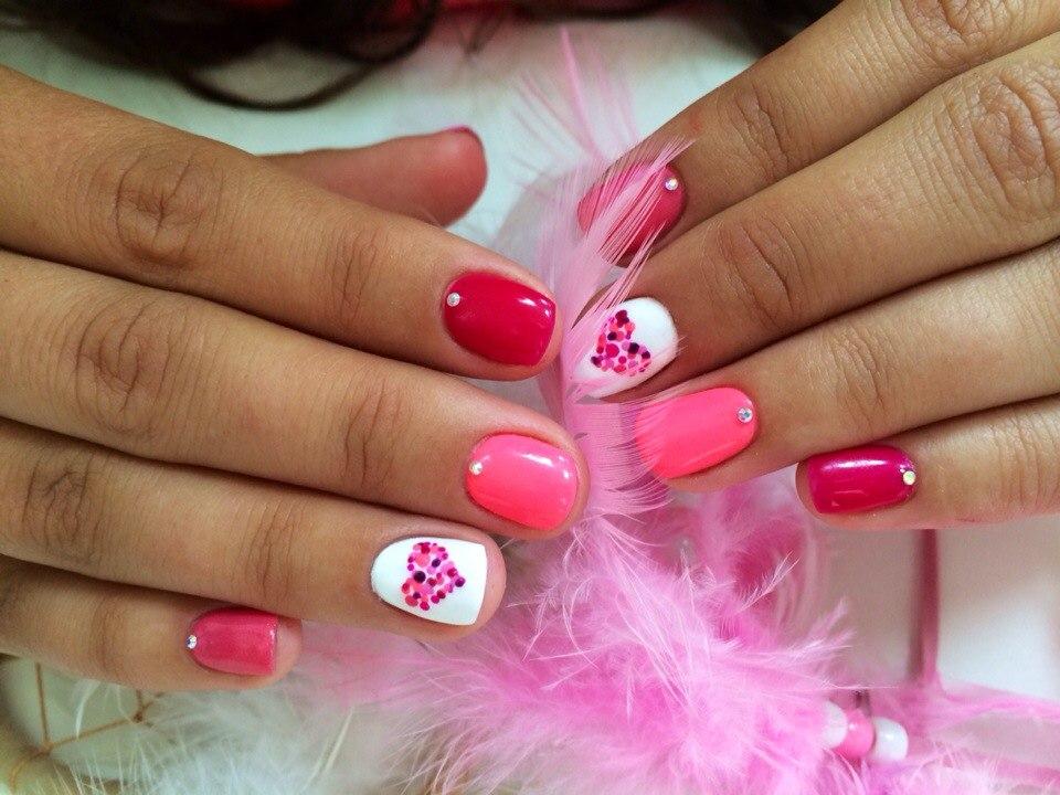 Маникюр красный розовый с фото