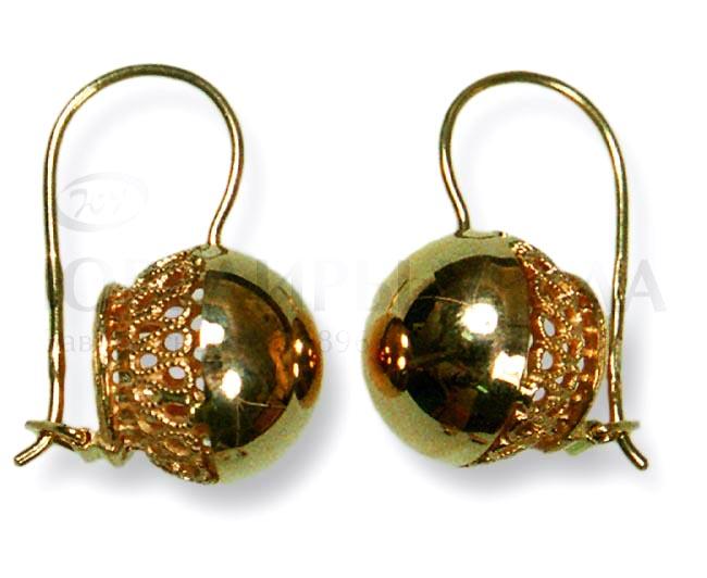 золотые шары серьги фото
