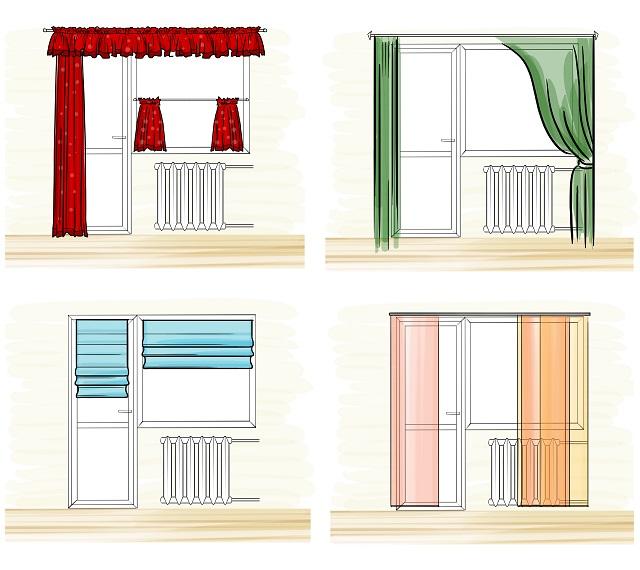 Дизайн штор на окно и балконную дверь