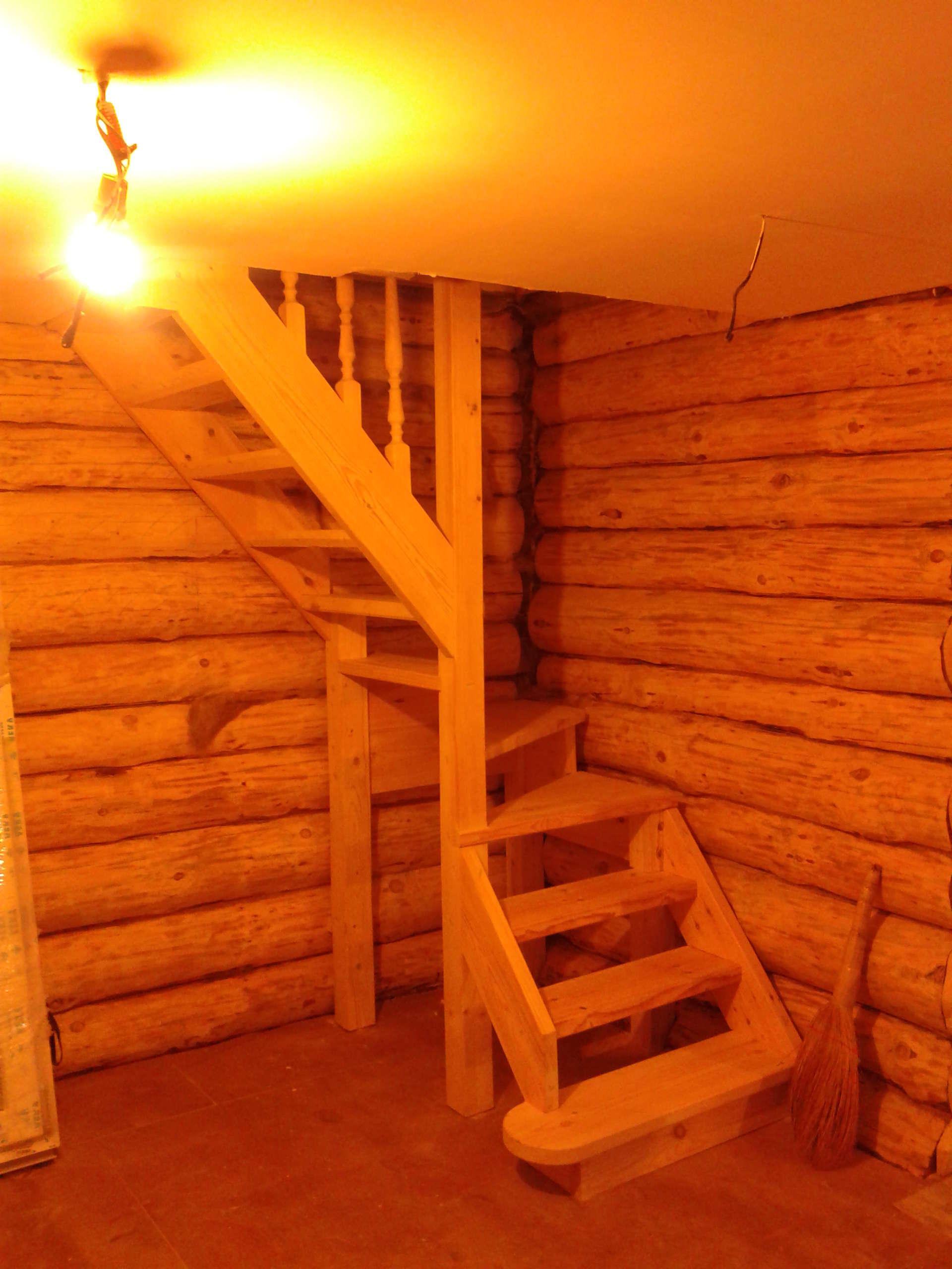 Лестницы на второй этаж в бане своими руками 31