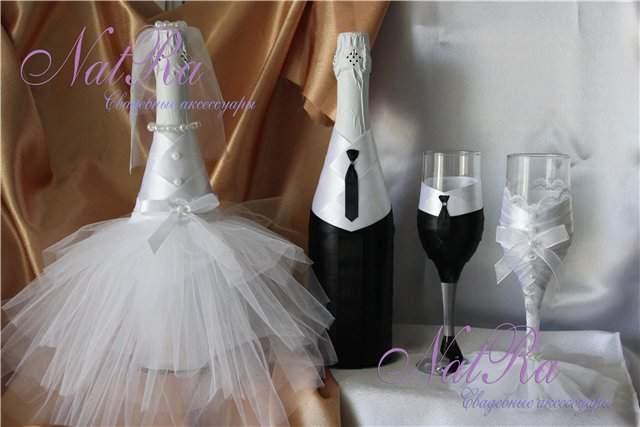 Свадебное украшение на бутылку шампанского фото