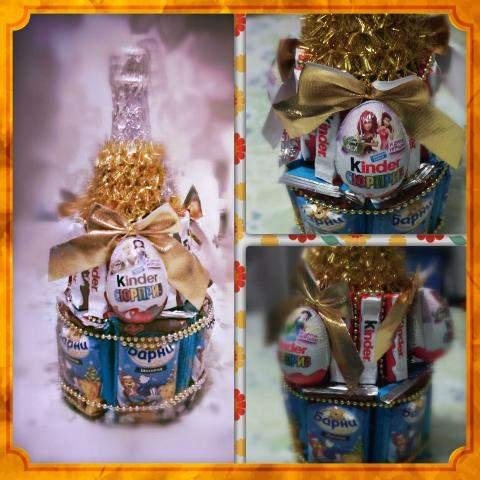 Подарок из бутылки шампанского и конфет