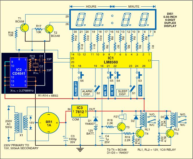 схему часов на микроконтроллере