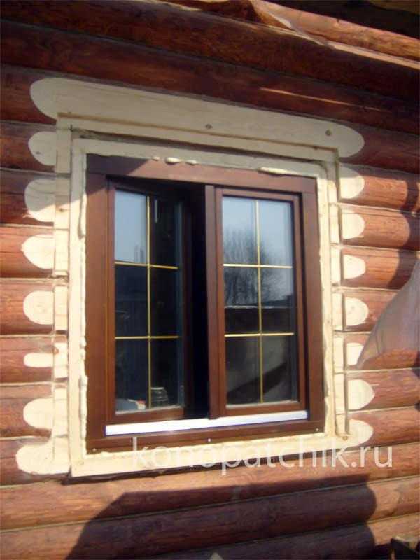Монтаж пластиковых окон в рубленном доме