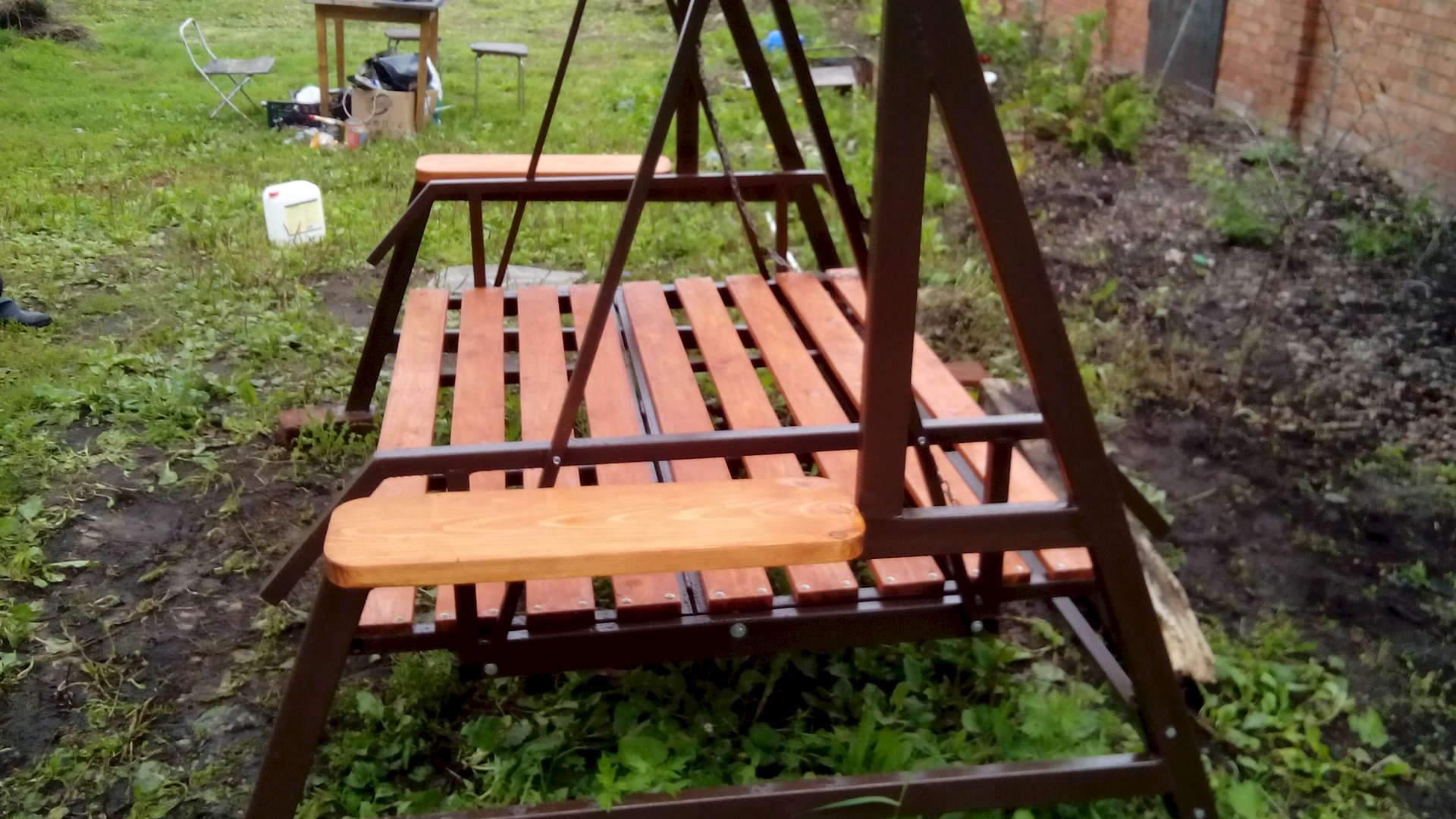 Качели садовые диван из металла своими руками 27