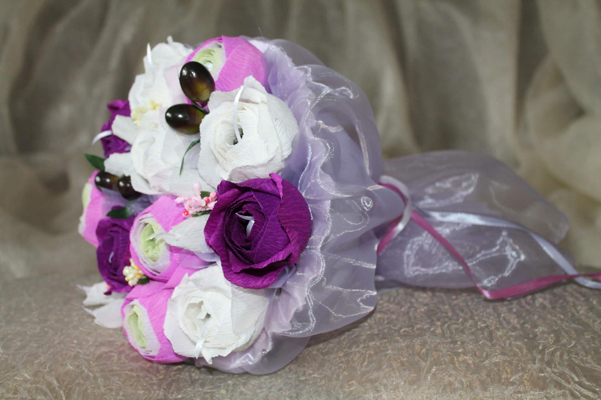 Как сделать букет из конфет свадебный
