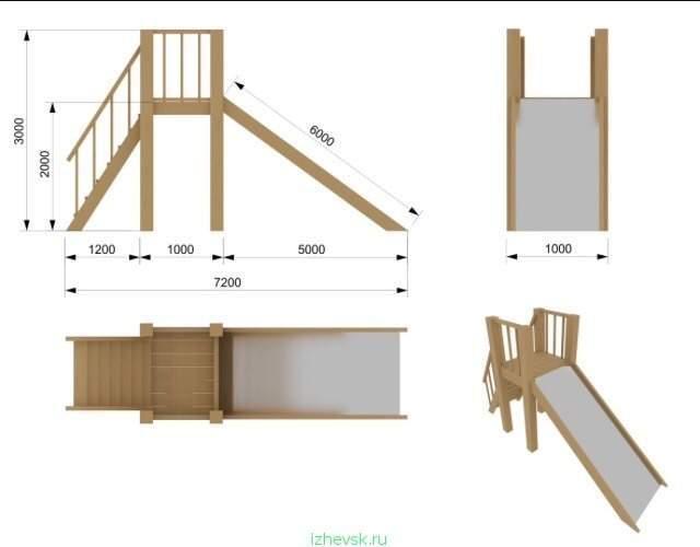 Горка для детей на даче чертежи