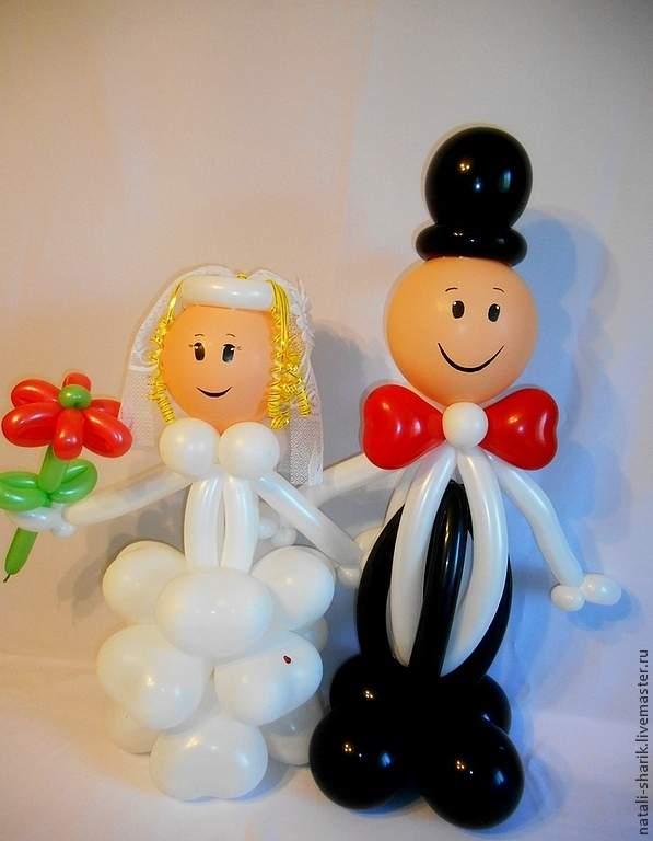 Фигуры жениха и невесты из воздушных шаров