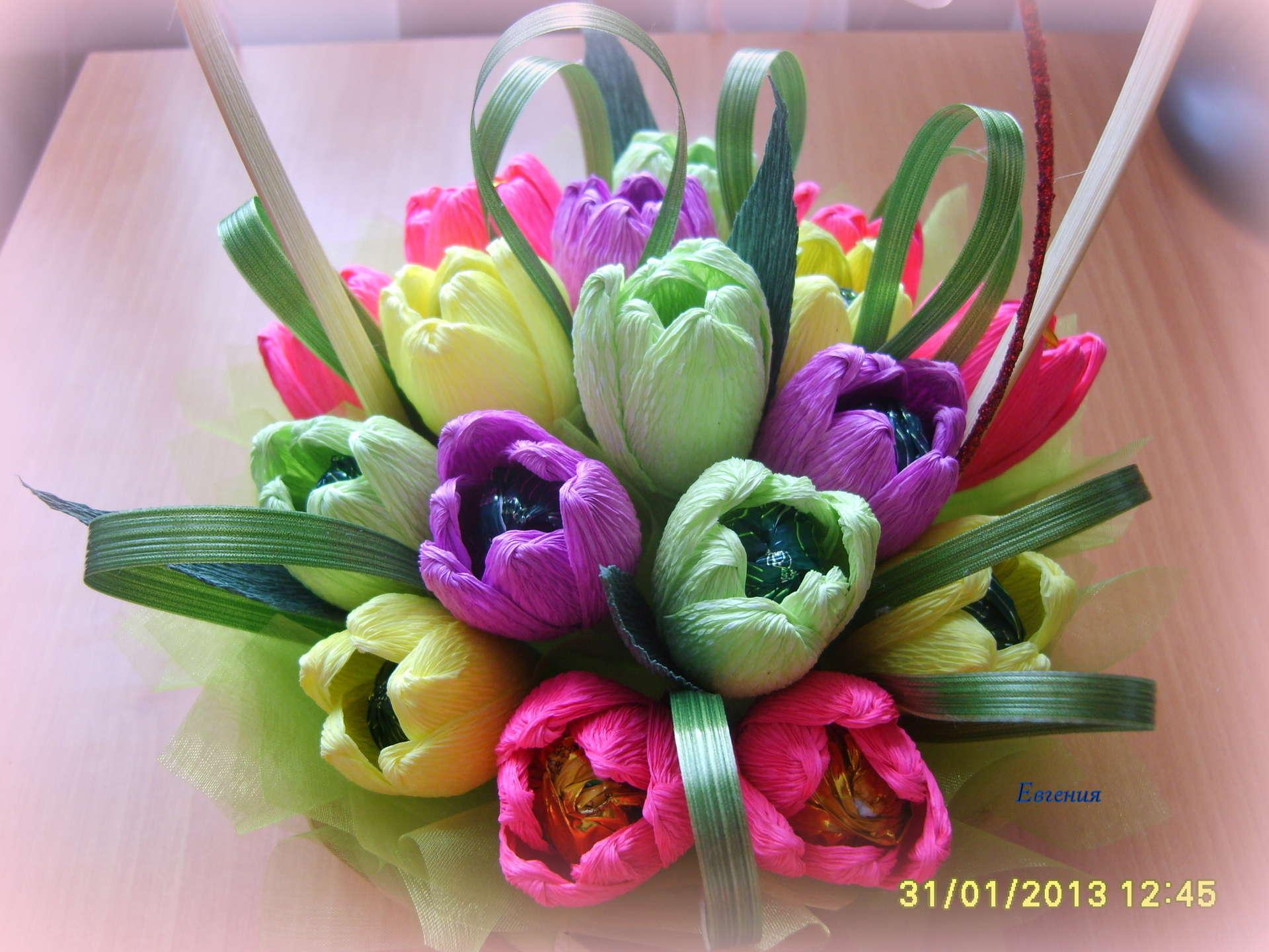 Конфетные тюльпаны пошагово с фото