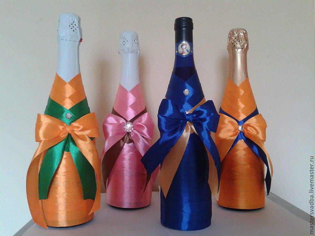 Как украсить бутылку шампанского своими руками мастер