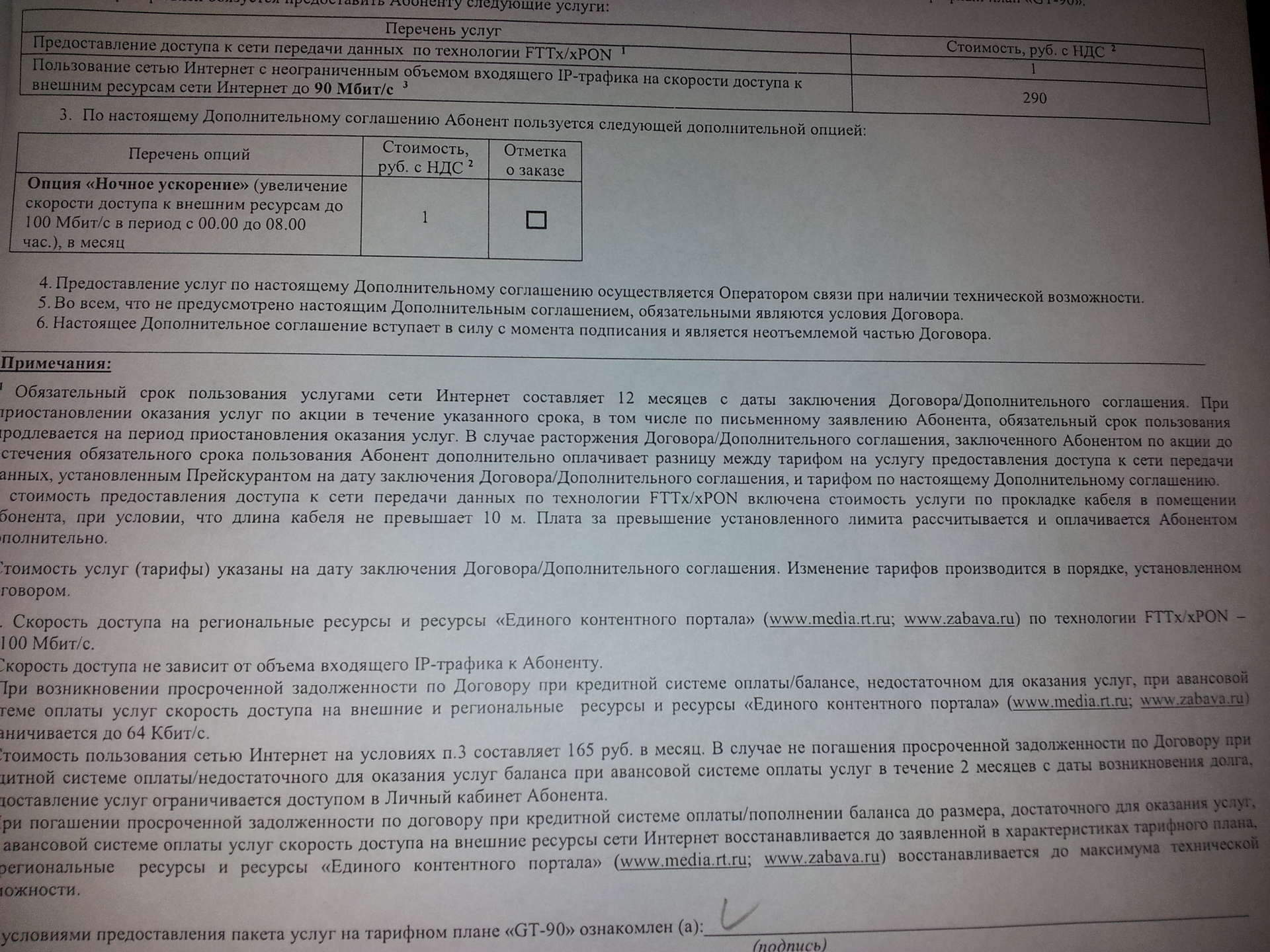 Договор между заказчиком и исполнителем на оказание услуги