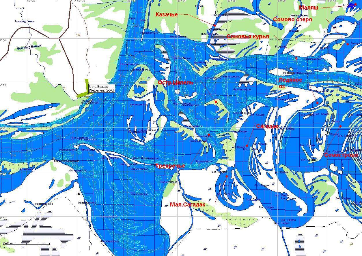 Глубинная карта реки белая