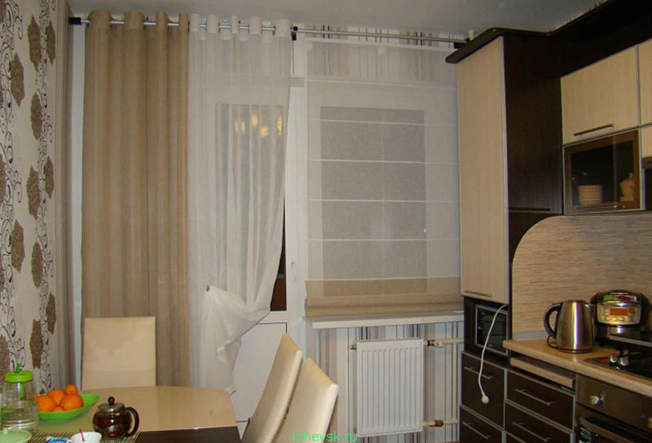 Римские шторы+шторы на люверсах для кухни. шторы для кухни,с.