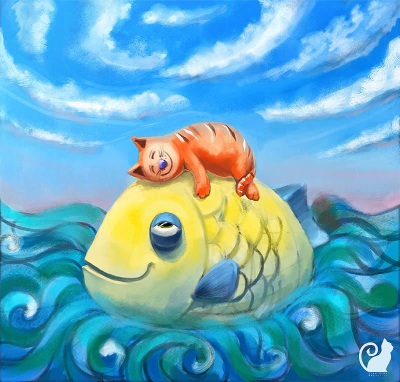 Открытка рыбки, рисунки акварелью для